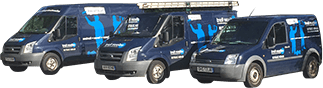 Three Edison Ford Property Maintenance vans